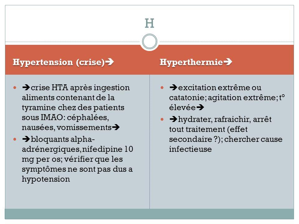 Hypertension (crise) Hyperthermie crise HTA après ingestion aliments contenant de la tyramine chez des patients sous IMAO: céphalées, nausées, vomisse