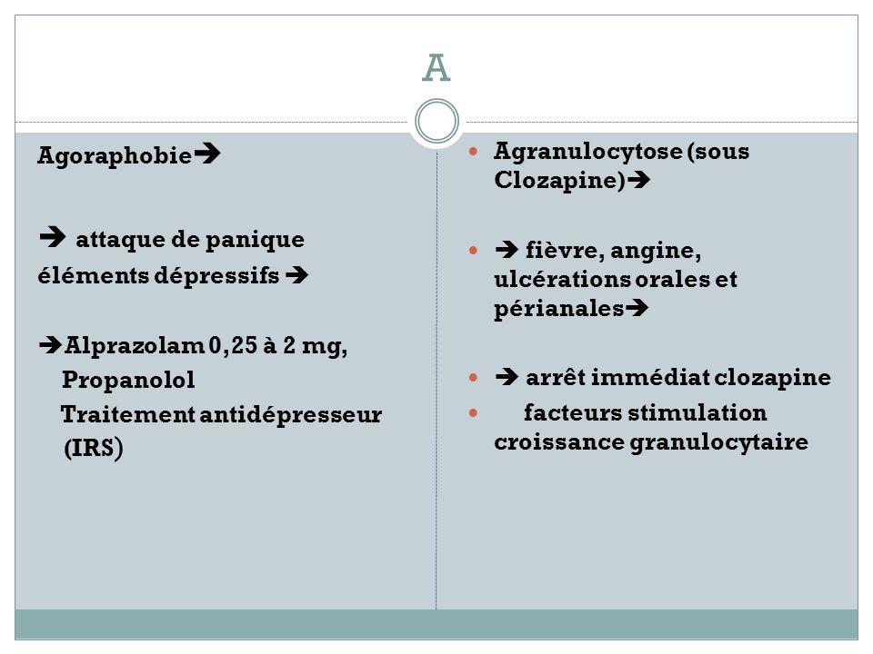 A Agoraphobie attaque de panique éléments dépressifs Alprazolam 0,25 à 2 mg, Propanolol Traitement antidépresseur (IRS ) Agranulocytose (sous Clozapine) fièvre, angine, ulcérations orales et périanales arrêt immédiat clozapine facteurs stimulation croissance granulocytaire