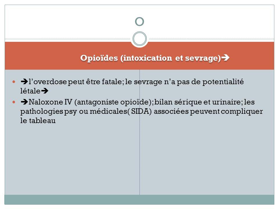 Opioïdes (intoxication et sevrage) loverdose peut être fatale; le sevrage na pas de potentialité létale Naloxone IV (antagoniste opioïde); bilan sériq