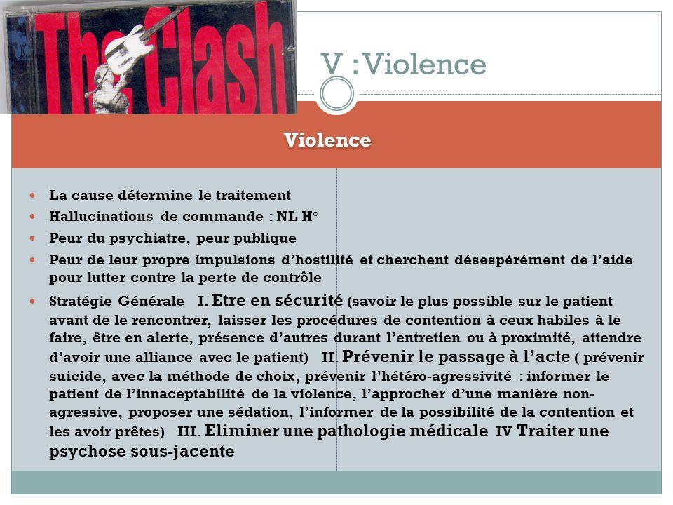 Violence La cause détermine le traitement Hallucinations de commande : NL H° Peur du psychiatre, peur publique Peur de leur propre impulsions dhostili
