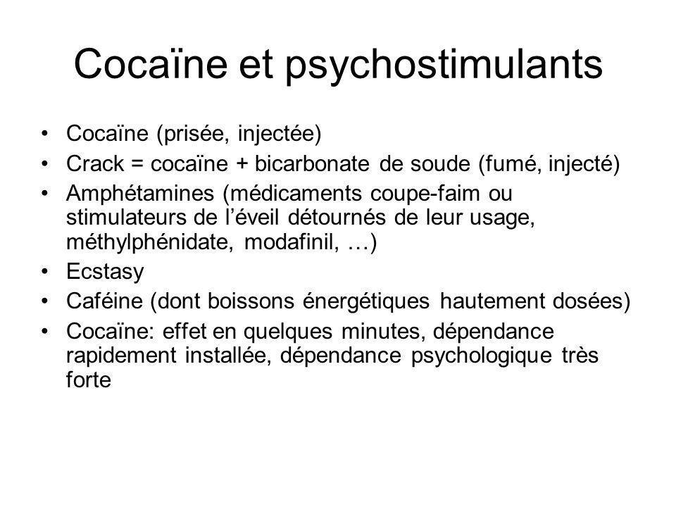 Cocaïne et psychostimulants Cocaïne (prisée, injectée) Crack = cocaïne + bicarbonate de soude (fumé, injecté) Amphétamines (médicaments coupe-faim ou stimulateurs de léveil détournés de leur usage, méthylphénidate, modafinil, …) Ecstasy Caféine (dont boissons énergétiques hautement dosées) Cocaïne: effet en quelques minutes, dépendance rapidement installée, dépendance psychologique très forte