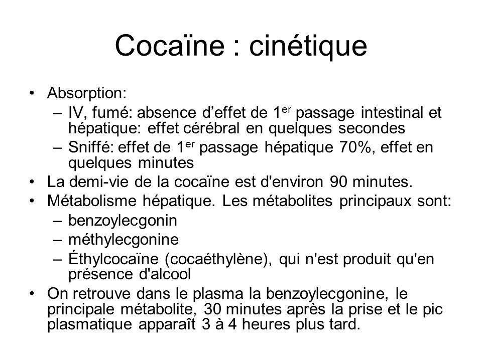 Cocaïne : cinétique Absorption: –IV, fumé: absence deffet de 1 er passage intestinal et hépatique: effet cérébral en quelques secondes –Sniffé: effet de 1 er passage hépatique 70%, effet en quelques minutes La demi-vie de la cocaïne est d environ 90 minutes.