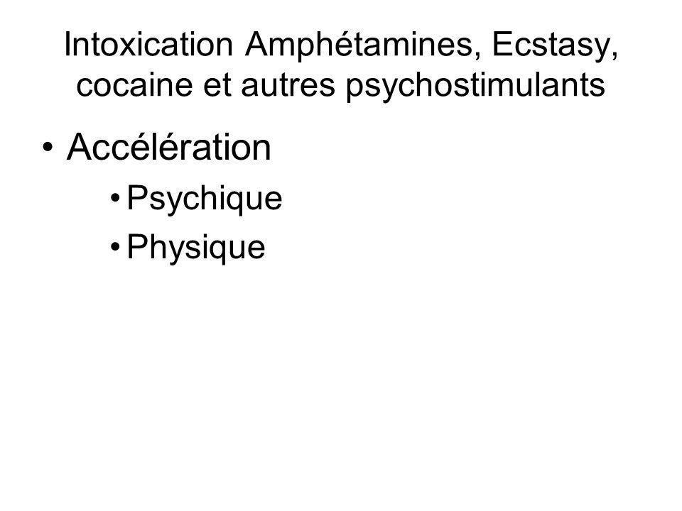 Intoxication Amphétamines, Ecstasy, cocaine et autres psychostimulants Accélération Psychique Physique