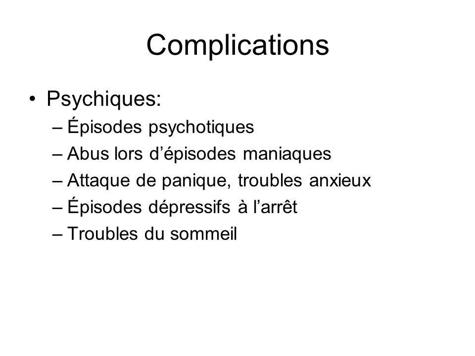Complications Psychiques: –Épisodes psychotiques –Abus lors dépisodes maniaques –Attaque de panique, troubles anxieux –Épisodes dépressifs à larrêt –Troubles du sommeil
