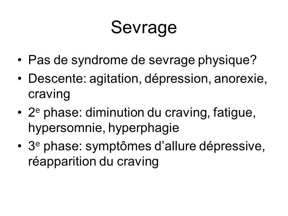 Sevrage Pas de syndrome de sevrage physique.