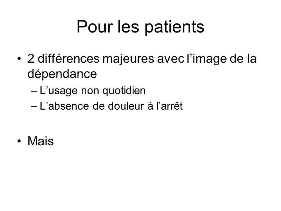 Pour les patients 2 différences majeures avec limage de la dépendance –Lusage non quotidien –Labsence de douleur à larrêt Mais
