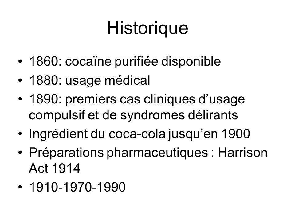 Historique 1860: cocaïne purifiée disponible 1880: usage médical 1890: premiers cas cliniques dusage compulsif et de syndromes délirants Ingrédient du coca-cola jusquen 1900 Préparations pharmaceutiques : Harrison Act 1914 1910-1970-1990