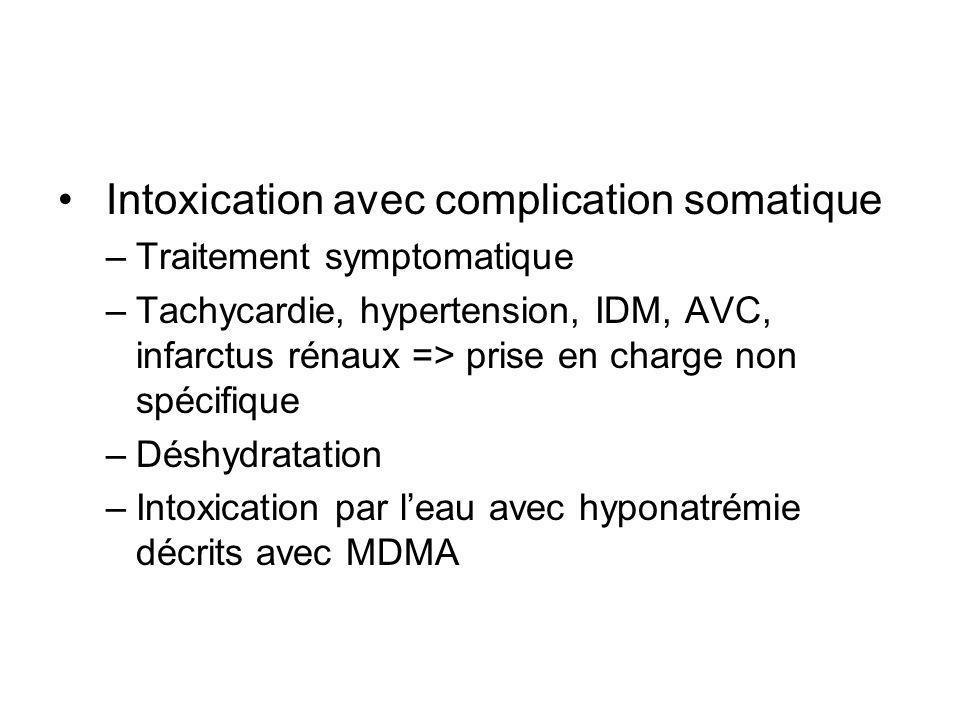 Intoxication avec complication somatique –Traitement symptomatique –Tachycardie, hypertension, IDM, AVC, infarctus rénaux => prise en charge non spécifique –Déshydratation –Intoxication par leau avec hyponatrémie décrits avec MDMA