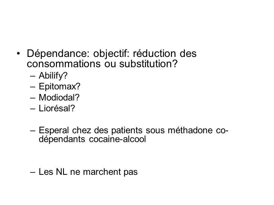 Dépendance: objectif: réduction des consommations ou substitution.