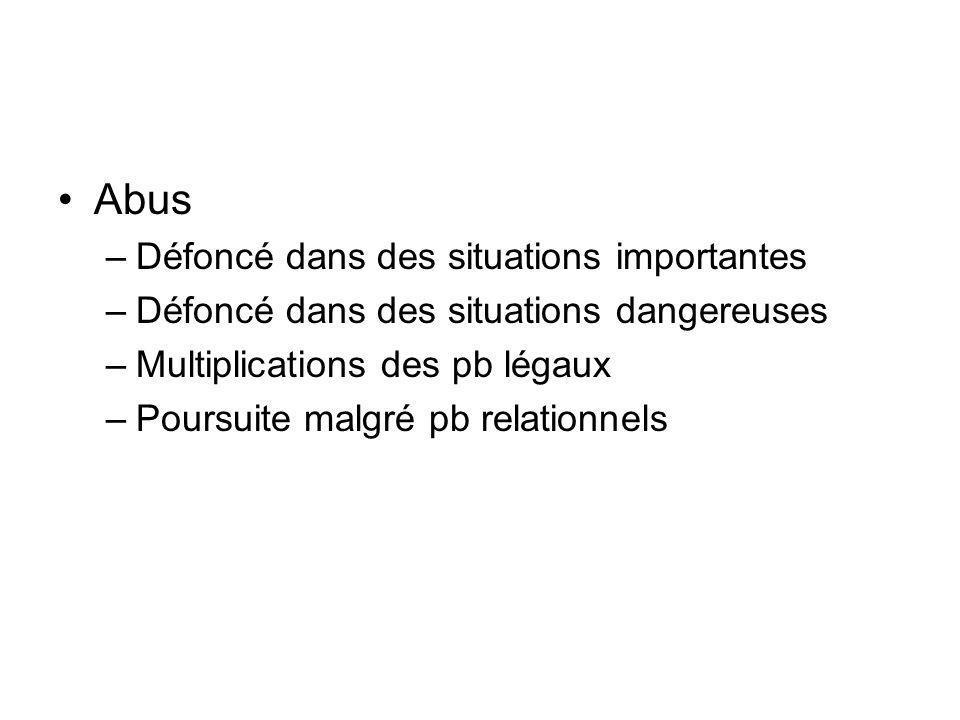 Abus –Défoncé dans des situations importantes –Défoncé dans des situations dangereuses –Multiplications des pb légaux –Poursuite malgré pb relationnels