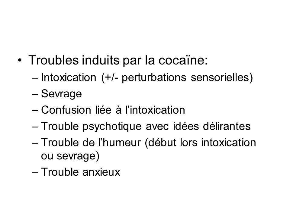 Epidémiologie Drogue illicite dont l usage augmente le plus en France Usage au mois une fois dans lannée chez les 15-34 ans: 1% Étude accidentologie routière nationale: –Accidents mortels: cocaïne positif 3% 30% des consultants en CSST (50-80% Antilles)
