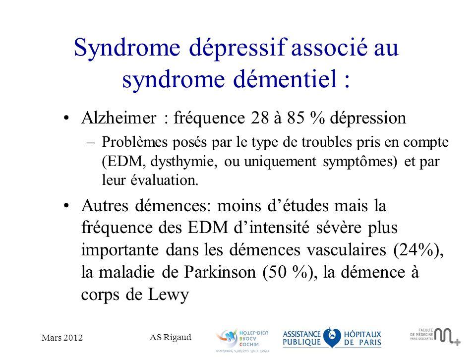 AS Rigaud Mars 2012 Syndrome dépressif associé au syndrome démentiel : Alzheimer : fréquence 28 à 85 % dépression –Problèmes posés par le type de trou