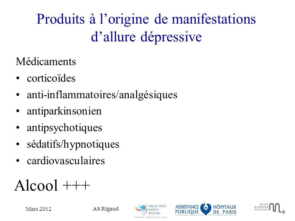 AS Rigaud Mars 2012 Produits à lorigine de manifestations dallure dépressive Médicaments corticoïdes anti-inflammatoires/analgésiques antiparkinsonien