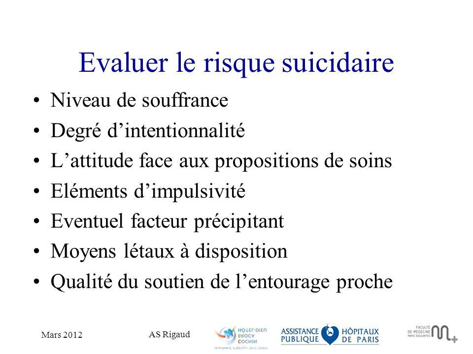 AS Rigaud Mars 2012 Evaluer le risque suicidaire Niveau de souffrance Degré dintentionnalité Lattitude face aux propositions de soins Eléments dimpuls