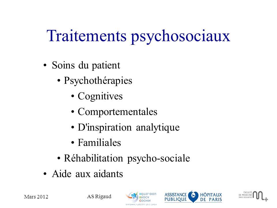 AS Rigaud Mars 2012 Traitements psychosociaux Soins du patient Psychothérapies Cognitives Comportementales D'inspiration analytique Familiales Réhabil