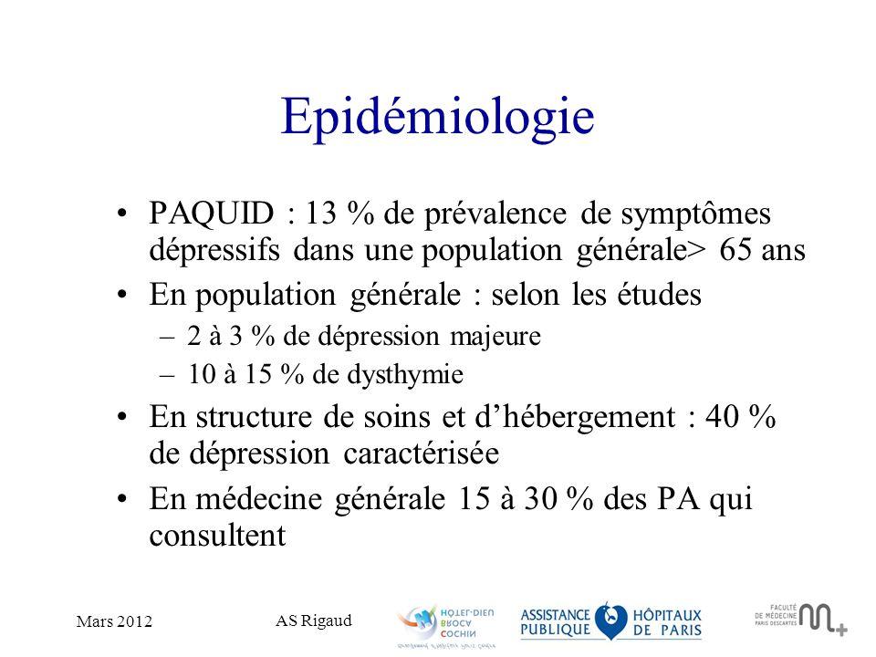 AS Rigaud Mars 2012 Epidémiologie PAQUID : 13 % de prévalence de symptômes dépressifs dans une population générale> 65 ans En population générale : se