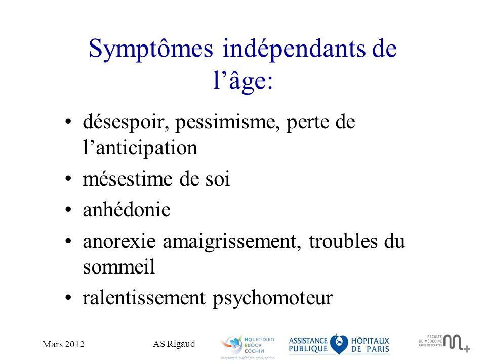 AS Rigaud Mars 2012 Symptômes indépendants de lâge: désespoir, pessimisme, perte de lanticipation mésestime de soi anhédonie anorexie amaigrissement,