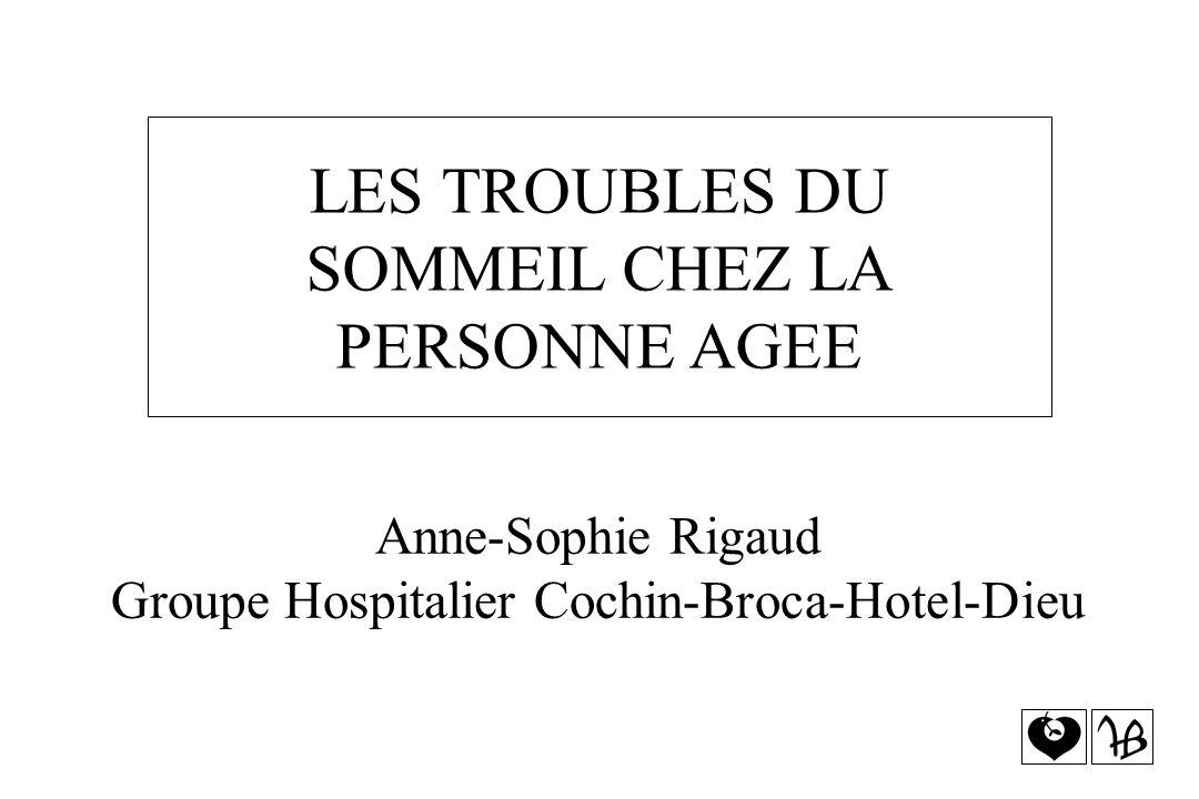 LES TROUBLES DU SOMMEIL CHEZ LA PERSONNE AGEE Anne-Sophie Rigaud Groupe Hospitalier Cochin-Broca-Hotel-Dieu