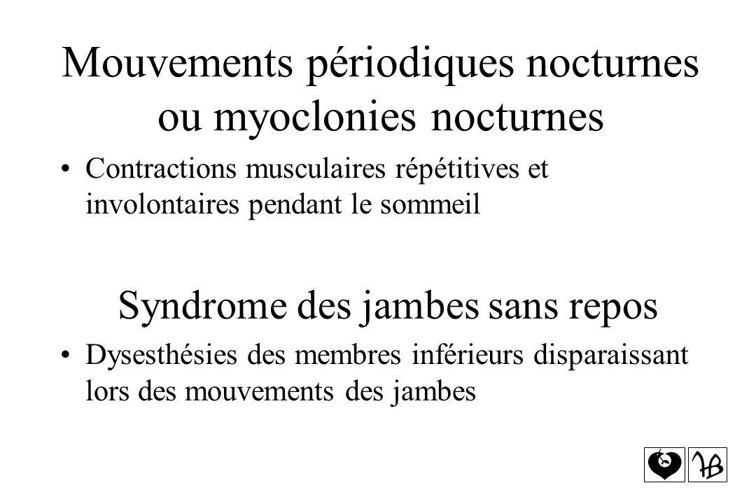 Mouvements périodiques nocturnes ou myoclonies nocturnes Contractions musculaires répétitives et involontaires pendant le sommeil Syndrome des jambes