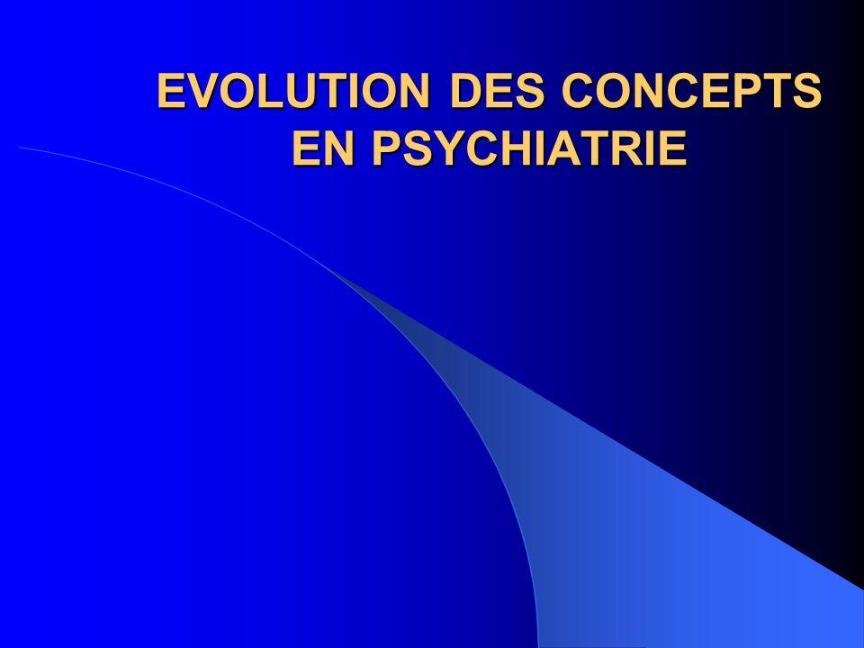 EVOLUTION DES CONCEPTS EN PSYCHIATRIE