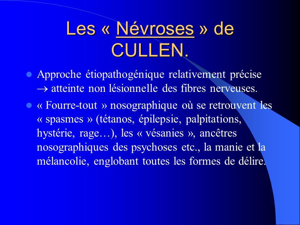 Les « Névroses » de CULLEN. Approche étiopathogénique relativement précise atteinte non lésionnelle des fibres nerveuses. « Fourre-tout » nosographiqu