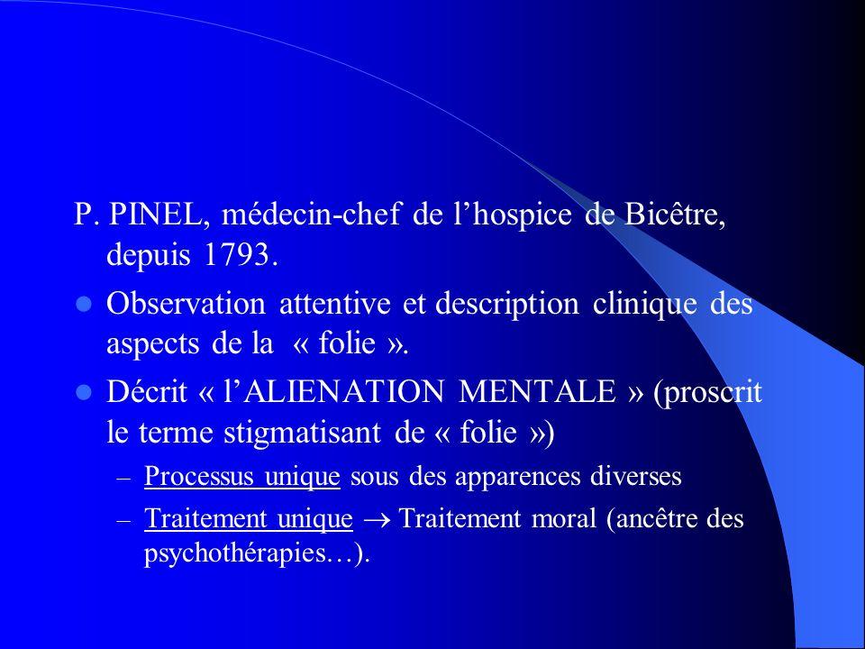 P. PINEL, médecin-chef de lhospice de Bicêtre, depuis 1793. Observation attentive et description clinique des aspects de la « folie ». Décrit « lALIEN