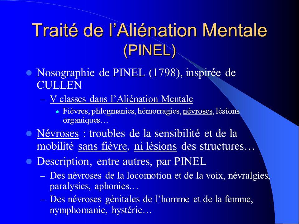 Traité de lAliénation Mentale (PINEL) Nosographie de PINEL (1798), inspirée de CULLEN – V classes dans lAliénation Mentale Fièvres, phlegmanies, hémorragies, névroses, lésions organiques… Névroses : troubles de la sensibilité et de la mobilité sans fièvre, ni lésions des structures… Description, entre autres, par PINEL – Des névroses de la locomotion et de la voix, névralgies, paralysies, aphonies… – Des névroses génitales de lhomme et de la femme, nymphomanie, hystérie…