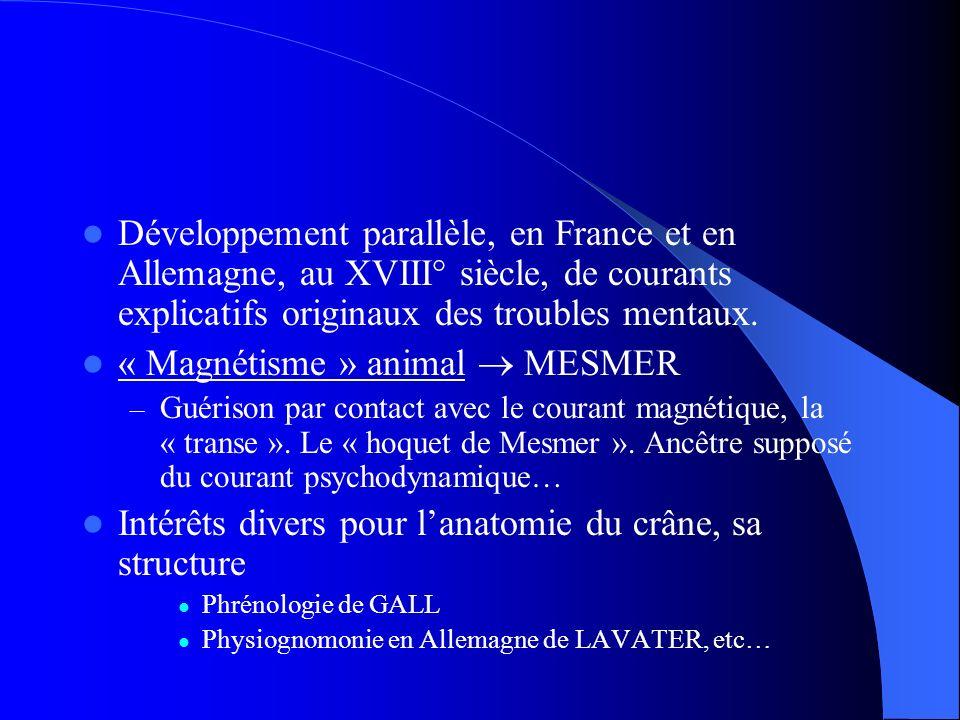 Développement parallèle, en France et en Allemagne, au XVIII° siècle, de courants explicatifs originaux des troubles mentaux.