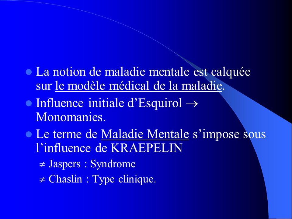 La notion de maladie mentale est calquée sur le modèle médical de la maladie. Influence initiale dEsquirol Monomanies. Le terme de Maladie Mentale sim