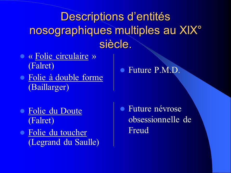 Descriptions dentités nosographiques multiples au XIX° siècle. « Folie circulaire » (Falret) Folie à double forme (Baillarger) Folie du Doute (Falret)