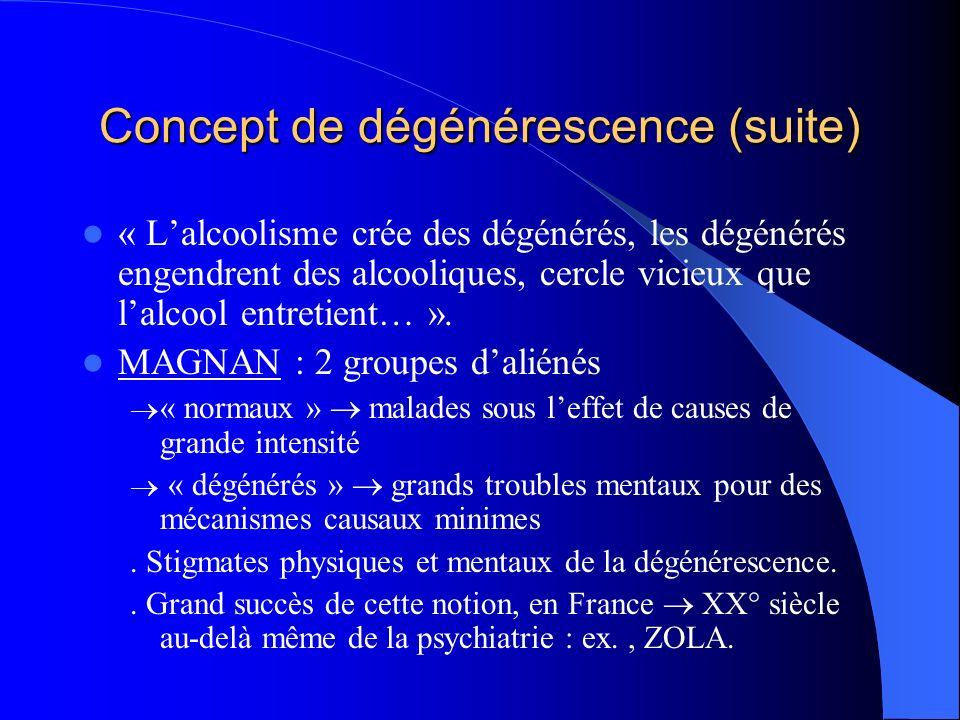 Concept de dégénérescence (suite) « Lalcoolisme crée des dégénérés, les dégénérés engendrent des alcooliques, cercle vicieux que lalcool entretient… ».