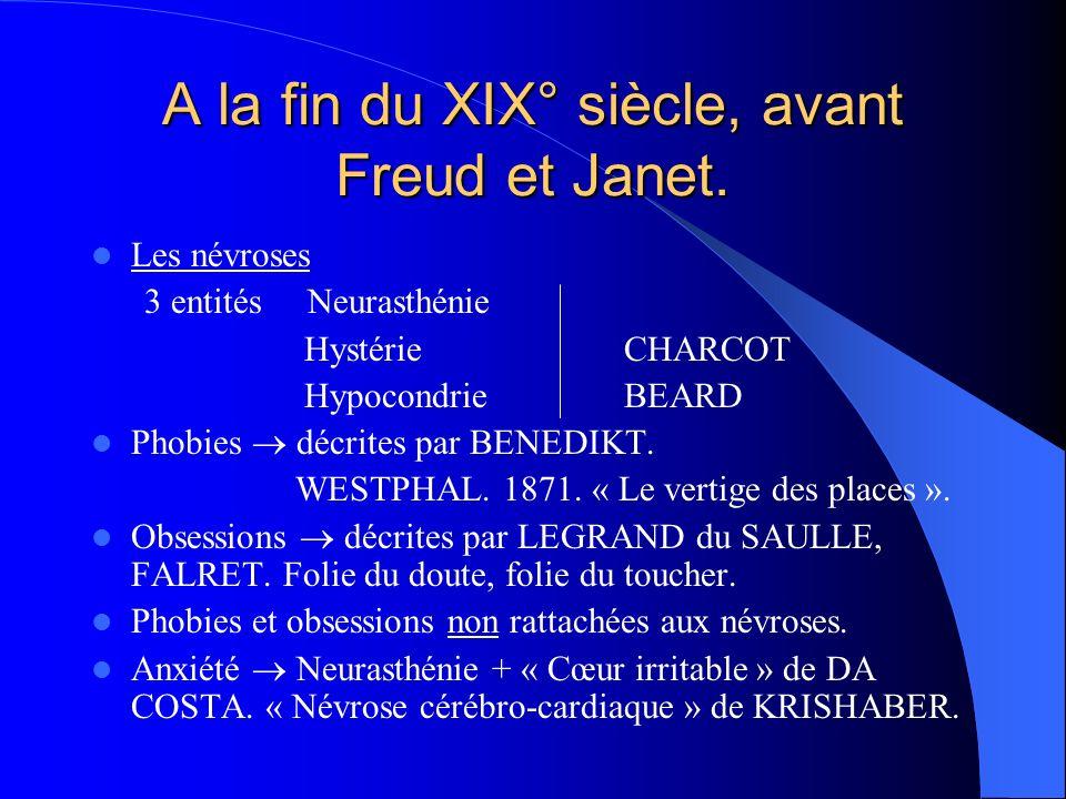 A la fin du XIX° siècle, avant Freud et Janet. Les névroses 3 entités Neurasthénie Hystérie CHARCOT Hypocondrie BEARD Phobies décrites par BENEDIKT. W