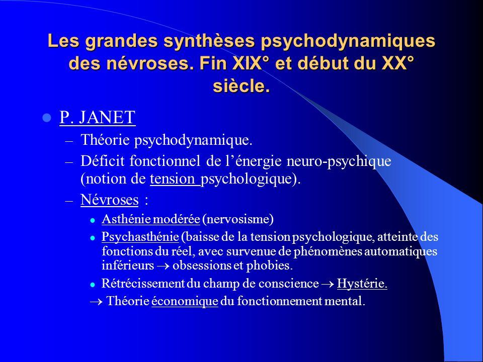 Les grandes synthèses psychodynamiques des névroses. Fin XIX° et début du XX° siècle. P. JANET – Théorie psychodynamique. – Déficit fonctionnel de lén