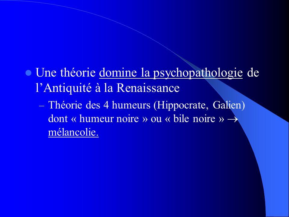 Une théorie domine la psychopathologie de lAntiquité à la Renaissance – Théorie des 4 humeurs (Hippocrate, Galien) dont « humeur noire » ou « bile noire » mélancolie.