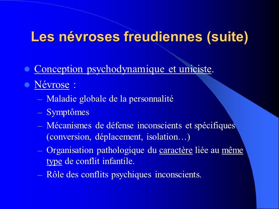 Les névroses freudiennes (suite) Conception psychodynamique et uniciste. Névrose : – Maladie globale de la personnalité – Symptômes – Mécanismes de dé