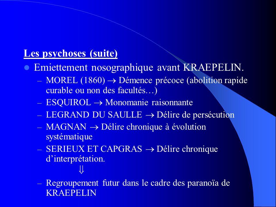 Les psychoses (suite) Emiettement nosographique avant KRAEPELIN. – MOREL (1860) Démence précoce (abolition rapide curable ou non des facultés…) – ESQU