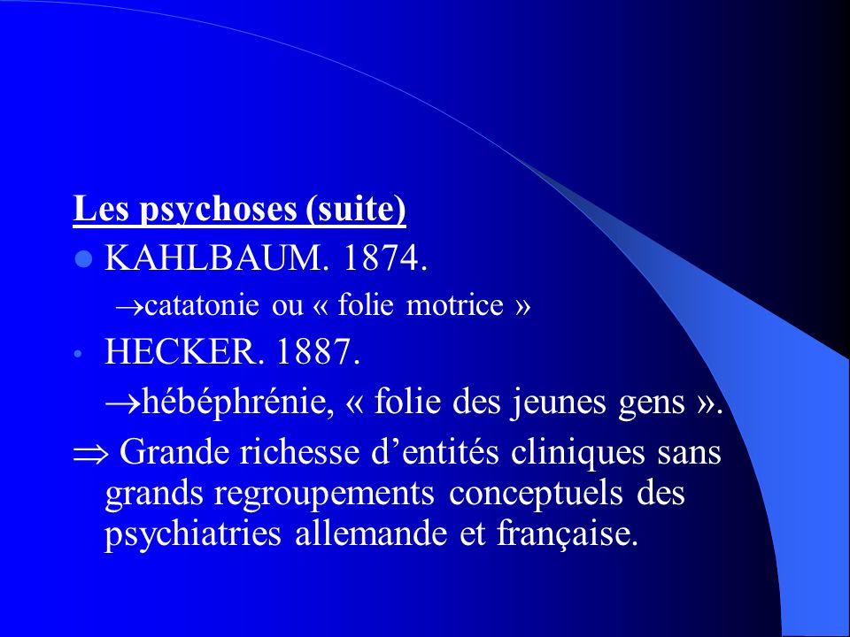Les psychoses (suite) KAHLBAUM.1874. catatonie ou « folie motrice » HECKER.