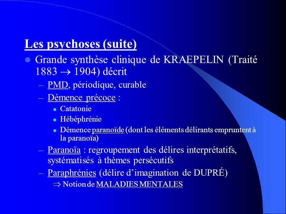 Les psychoses (suite) Grande synthèse clinique de KRAEPELIN (Traité 1883 1904) décrit – PMD, périodique, curable – Démence précoce : Catatonie Hébéphrénie Démence paranoïde (dont les éléments délirants empruntent à la paranoïa) – Paranoïa : regroupement des délires interprétatifs, systématisés à thèmes persécutifs – Paraphrénies (délire dimagination de DUPRÉ) Notion de MALADIES MENTALES