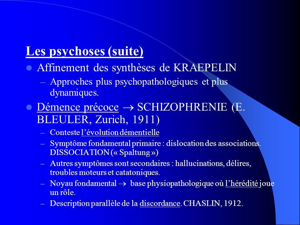 Les psychoses (suite) Affinement des synthèses de KRAEPELIN – Approches plus psychopathologiques et plus dynamiques. Démence précoce SCHIZOPHRENIE (E.