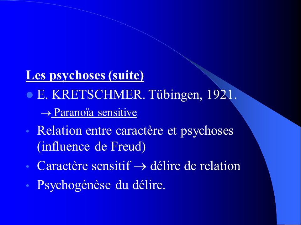 Les psychoses (suite) E. KRETSCHMER. Tübingen, 1921. Paranoïa sensitive Relation entre caractère et psychoses (influence de Freud) Caractère sensitif