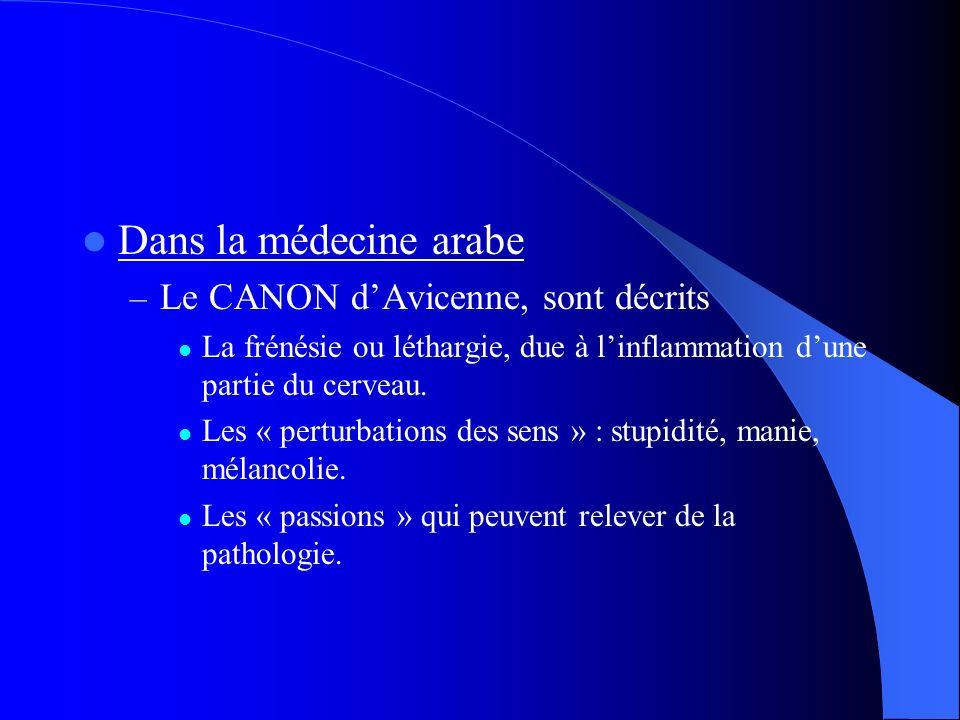 Dans la médecine arabe – Le CANON dAvicenne, sont décrits La frénésie ou léthargie, due à linflammation dune partie du cerveau. Les « perturbations de
