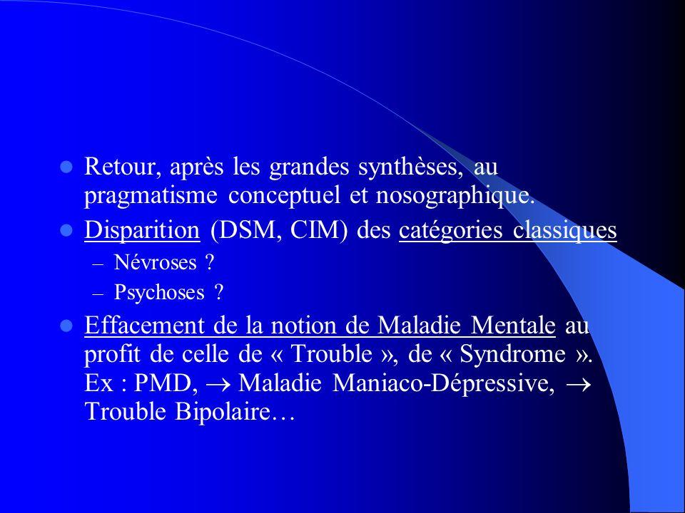 Retour, après les grandes synthèses, au pragmatisme conceptuel et nosographique. Disparition (DSM, CIM) des catégories classiques – Névroses ? – Psych