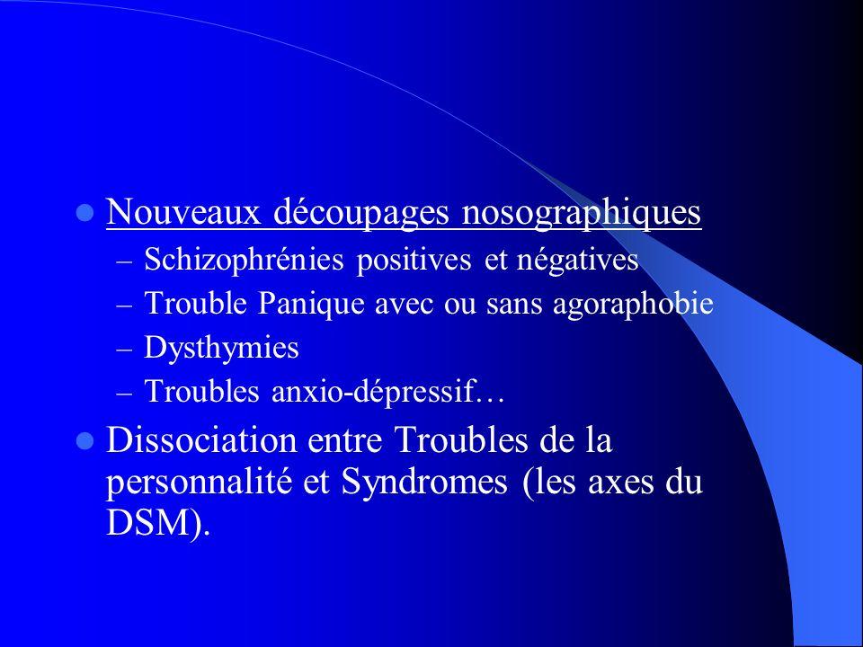 Nouveaux découpages nosographiques – Schizophrénies positives et négatives – Trouble Panique avec ou sans agoraphobie – Dysthymies – Troubles anxio-dépressif… Dissociation entre Troubles de la personnalité et Syndromes (les axes du DSM).