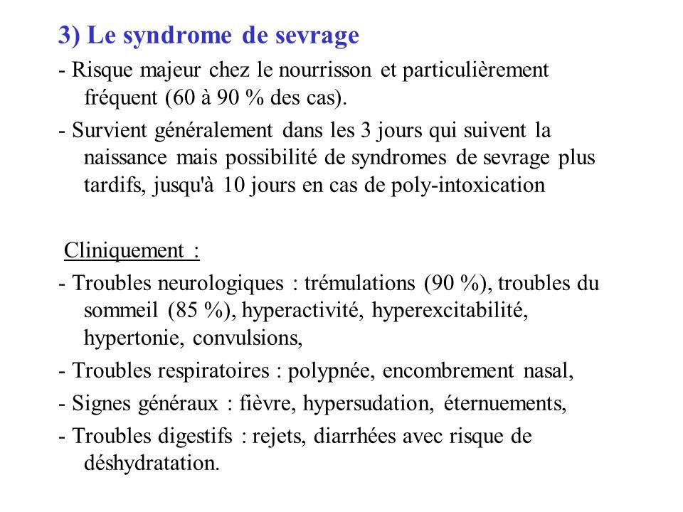 3) Le syndrome de sevrage - Risque majeur chez le nourrisson et particulièrement fréquent (60 à 90 % des cas). - Survient généralement dans les 3 jour