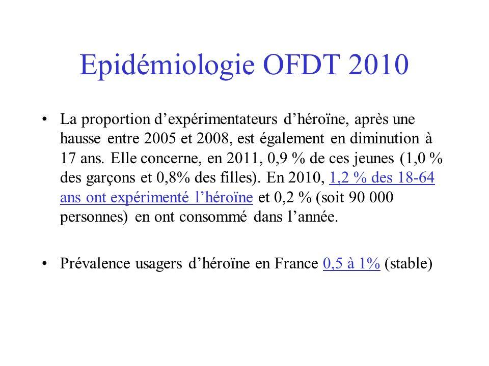 Epidémiologie OFDT 2010 La proportion dexpérimentateurs dhéroïne, après une hausse entre 2005 et 2008, est également en diminution à 17 ans. Elle conc