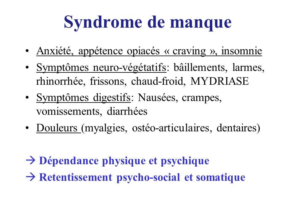 Syndrome de manque Anxiété, appétence opiacés « craving », insomnie Symptômes neuro-végétatifs: bâillements, larmes, rhinorrhée, frissons, chaud-froid
