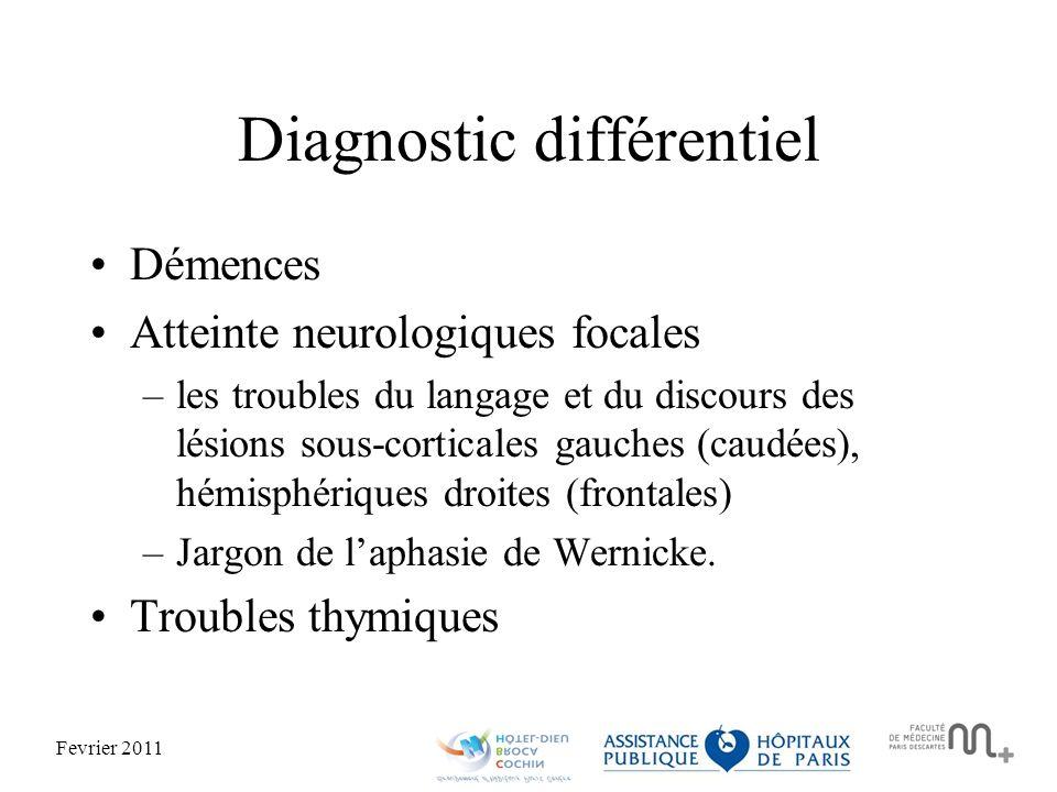 Fevrier 2011 Diagnostic différentiel Démences Atteinte neurologiques focales –les troubles du langage et du discours des lésions sous-corticales gauches (caudées), hémisphériques droites (frontales) –Jargon de laphasie de Wernicke.