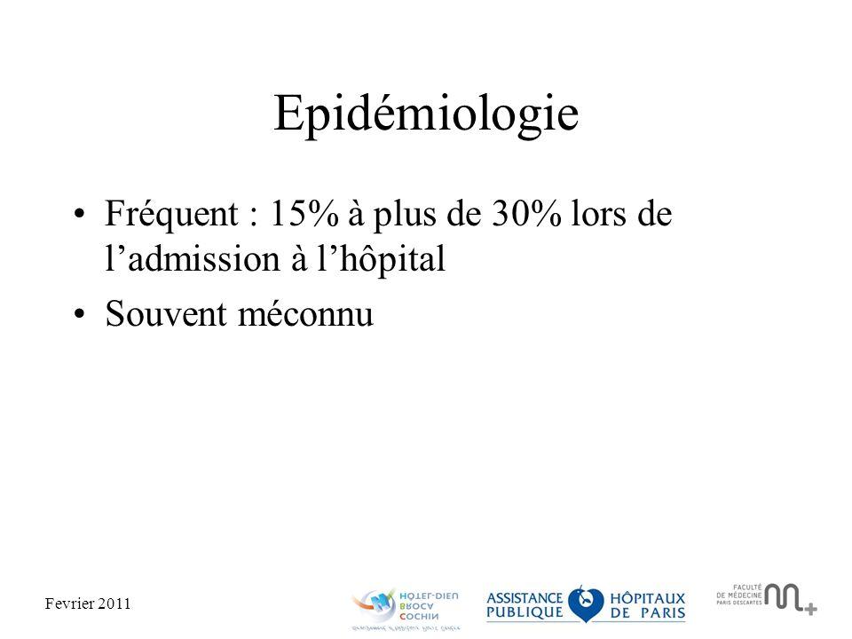 Fevrier 2011 Epidémiologie Fréquent : 15% à plus de 30% lors de ladmission à lhôpital Souvent méconnu