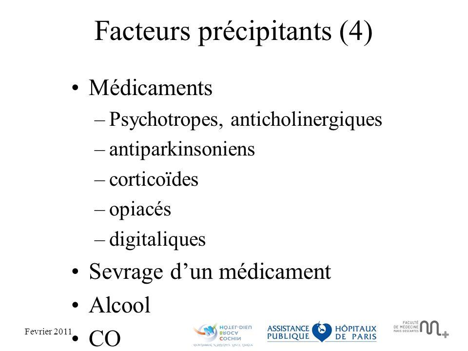 Fevrier 2011 Facteurs précipitants (4) Médicaments –Psychotropes, anticholinergiques –antiparkinsoniens –corticoïdes –opiacés –digitaliques Sevrage dun médicament Alcool CO