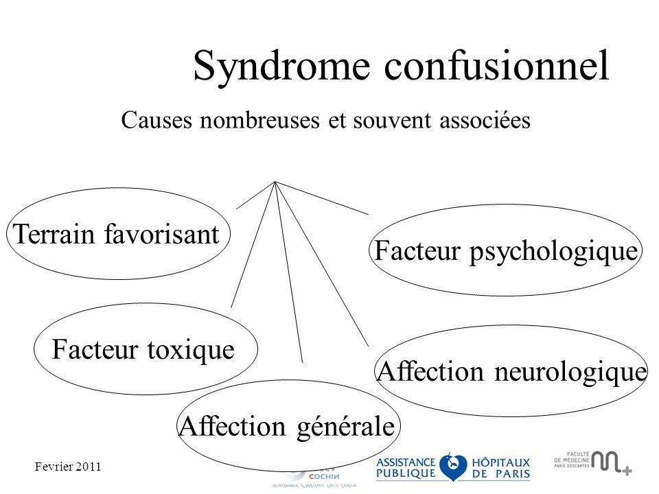 Fevrier 2011 Terrain favorisantFacteur toxiqueAffection généraleAffection neurologiqueFacteur psychologique Syndrome confusionnel Causes nombreuses et souvent associées